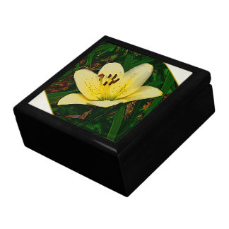 Gelbe Lilie - dekorativer Kasten Große Quadratische Schatulle