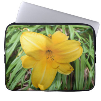 Gelbe Lilie herauf nahe Laptophülse Laptopschutzhülle