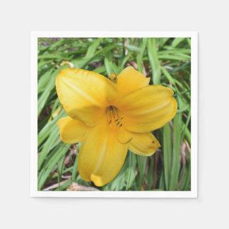 Gelbe Lilie herauf nahes Papierservietten