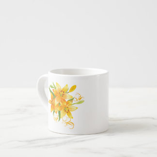 Gelbe Lilien-Espresso-Schale Espressotassen
