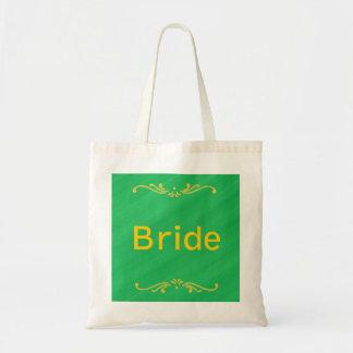 Gelbe Lilien-Grenzgrün-Braut-Taschen Tragetasche