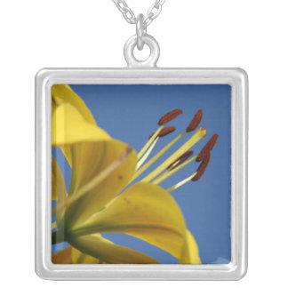 Gelbe Lilien-Halskette Halskette Mit Quadratischem Anhänger