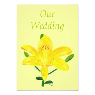 Gelbe Lilien-Hochzeits-Einladungen 12,7 X 17,8 Cm Einladungskarte