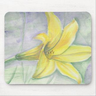 Gelbe Lilien-Malerei im Acryl Mauspad