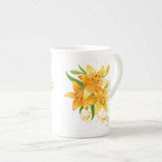 Gelbe Lilien-Tee-Schale Porzellantasse