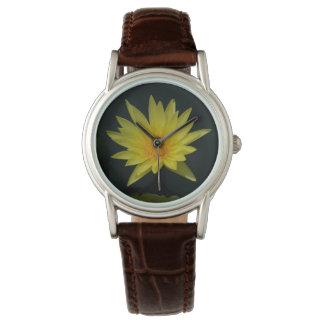 Gelbe Lotos-Wasserlilie-Uhr Armbanduhr