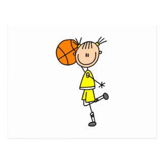 Gelbe Mädchen-Basketball-Spieler-T - Shirts und Postkarte