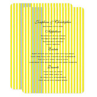 Gelbe Menü-Hochzeits-Streifen 11,4 X 15,9 Cm Einladungskarte