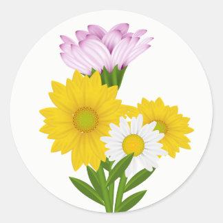Gelbe mit Blumensonnenblumen u. weiße Runder Aufkleber