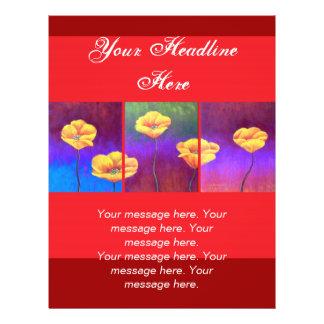 Gelbe Mohnblumen-Blumen-Malerei - multi 21,6 X 27,9 Cm Flyer