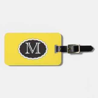 Gelbe Monogramm-Gepäck-Taschen-Umbau-Schablone Gepäckanhänger