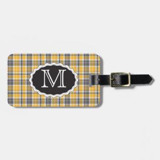 Gelbe Monogramm-Gepäck-Taschen-Umbau-Schablone Kofferanhänger