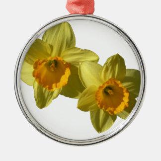 Gelbe Narzissen 2.2.2.f Rundes Silberfarbenes Ornament