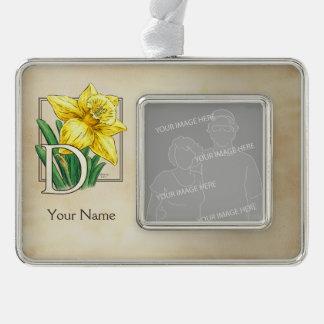 Gelbe Narzissen-personalisiertes Monogramm Rahmen-Ornament Silber