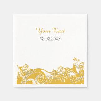 gelbe personalisierte Hochzeitsmit Papierservietten