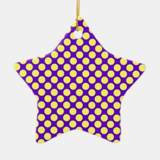 Gelbe Polka-Punkte mit lila Hintergrund STaylor Keramik Ornament