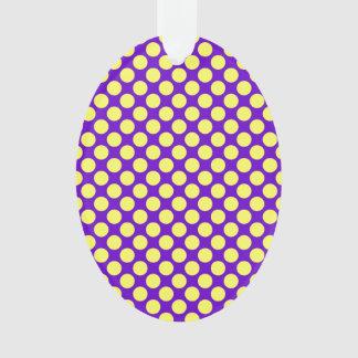 Gelbe Polka-Punkte mit lila Hintergrund STaylor Ornament
