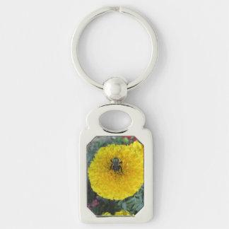 Gelbe Pompom-Ringelblumen-Blumen-Biene Schlüsselanhänger