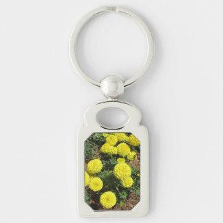 Gelbe Pompom-Ringelblumen-Garten-Pflanzen Schlüsselanhänger