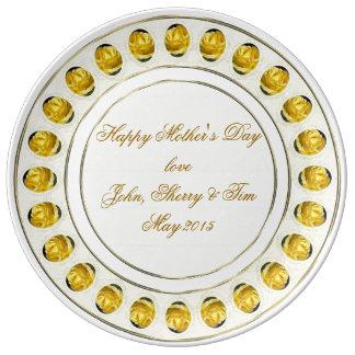 Gelbe Porzellan-Platte der Rosen-Mutter Tages Porzellanteller