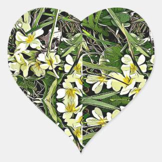 Gelbe Primelfrühlings-Blumenaufkleber Herz-Aufkleber