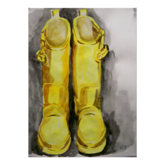 Gelbe Regen-Stiefel 4 Poster