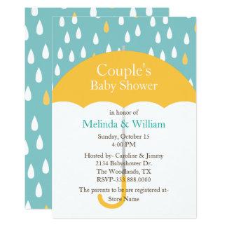 Gelbe Regenschirm-Babyparty-Einladung 12,7 X 17,8 Cm Einladungskarte