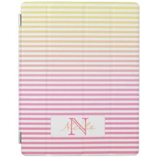 Gelbe rosa Steigungs-gestreiftes mit Monogramm iPad Hülle