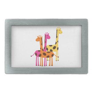 Gelbe, rosa und orange Giraffen Rechteckige Gürtelschnallen