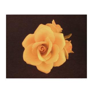 Gelbe Rose 11 x 14-Zoll-hölzernes Plattenhängen Holzwanddeko