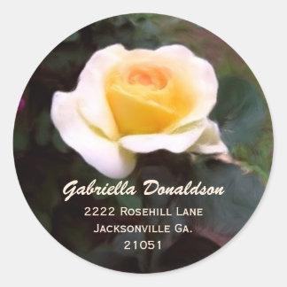 Gelbe Rose: Adressen-Aufkleber Runder Aufkleber
