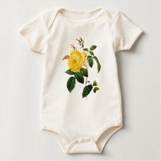 Gelbe Rose durch Pierre Joseph Redoute Baby Strampler