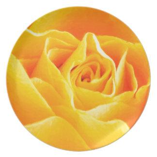 Gelbe Rose gemalt Melaminteller
