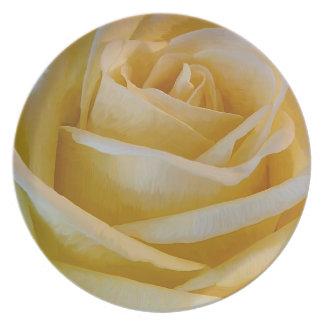 Gelbe Rose Melaminteller