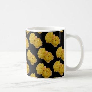 Gelbe Rosen auf Schwarzem, _ Kaffeetasse