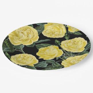 gelbe Rosen auf Schwarzem Pappteller