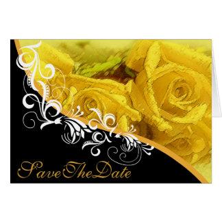 Gelbe Rosen behalten die Datums-Hochzeits-Karte #2 Grußkarte