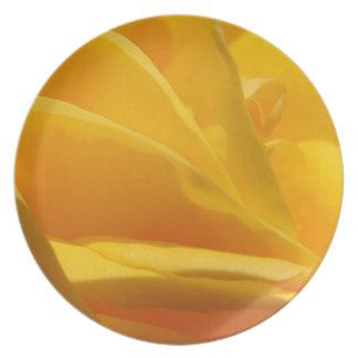 Gelbe Rosen-Blumenblätter Melaminteller