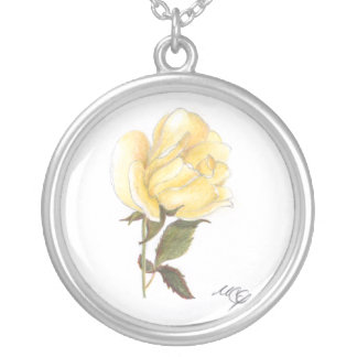 Gelbe Rosen-Blumenskizze-Halskette Versilberte Kette