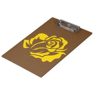 Gelbe Rosen-Blüte kundengerecht Klemmbrett