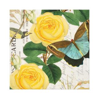 Gelbe Rosen-Collage Leinwanddruck
