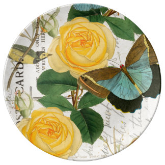 Gelbe Rosen-Collage Porzellanteller