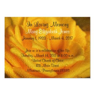 Gelbe Rosen-Erinnerungsservice-Mitteilung 12,7 X 17,8 Cm Einladungskarte