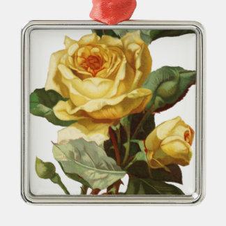 Gelbe Rosen-erstklassige quadratische Verzierung Quadratisches Silberfarbenes Ornament