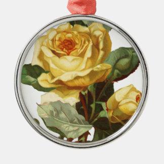 Gelbe Rosen-erstklassige runde Verzierung Silbernes Ornament