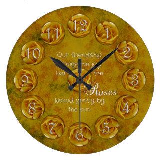 Gelbe Rosen-Freundschafts-Uhr Große Wanduhr