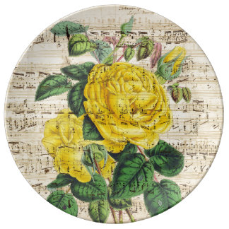 Gelbe Rosen-Musik Teller