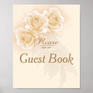 Gelbe Rosen u. Gast-Buch-Plakat des Poster