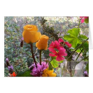 Gelbe Rosen u. LavendelSprigs KARTE