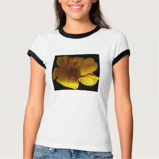 Gelbe Rot-Gestreifte Tulpe T-Shirt